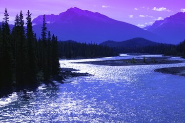 Mountains And A River Jasper National Park Alberta