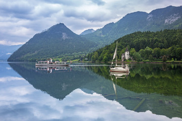 Idyllic scenery of Grundlsee lake in Alps mountains, Austria