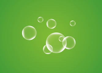 Drawn plastic transparent bubbles on a green background