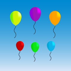 Vector illustration of colorful funny balloons