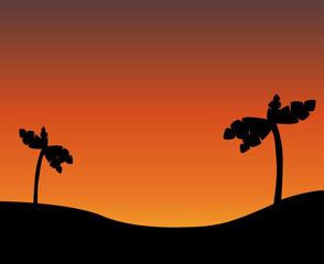 Vector drawing. Silhouette of desert with palm trees at sunset