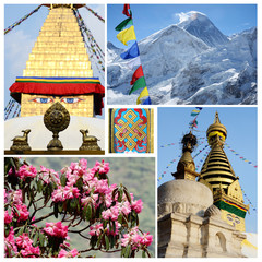 Collage of popular Nepalese travel destinations - Kathmandu vall