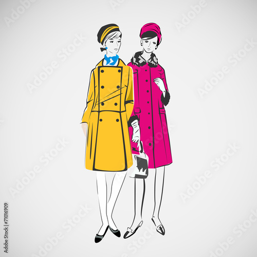 Vector sketch girls in fashion clothes eps