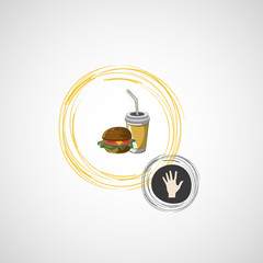 Vector icon of fast food sandwich and a drink