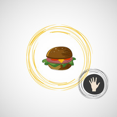Sketch juicy and tasty burger. vector icon