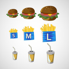 Vector set of fast food drink, burger, fries