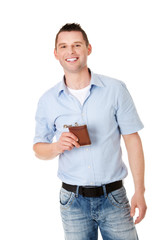 Confident man with hip flask