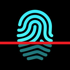 Fingerprint identification system - loop type icon.