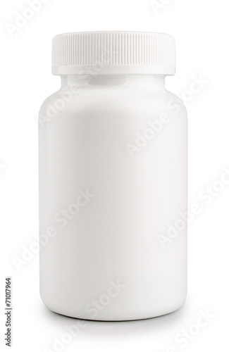medicine white pill bottle isolated on a white background - 71017964