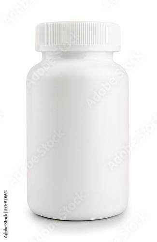 Leinwanddruck Bild medicine white pill bottle isolated on a white background
