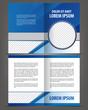 Vector empty bi-fold brochure print template blue design