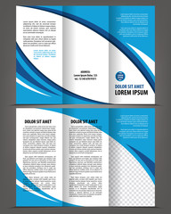 Vector empty trifold brochure template blue design