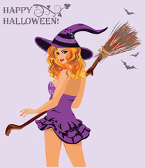 Happy Halloween. Sexy witch with broom, vector