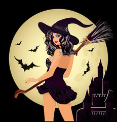 Happy Halloween. Sexy witch and moon, vector