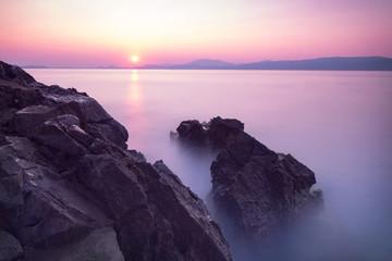Purple sunset over sea