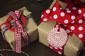 gift box with ribbon and bow, red and blue polka dot