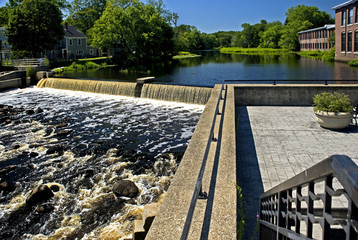 Dam on Ipswich river in the scenic town of Ipswich, MA