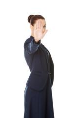 Businesswoman show NO gesture.