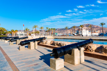 Cartagena cannon Naval museum port at Spain