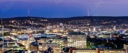canvas print picture Stuttgart blaue Stunde mit Fernsehturm