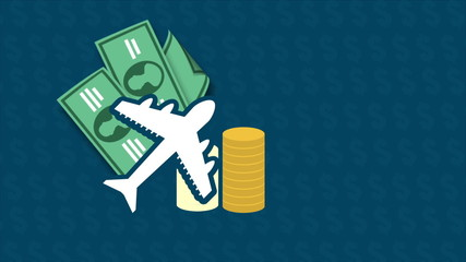 Money and travel concept, Animation Design, HD 1080