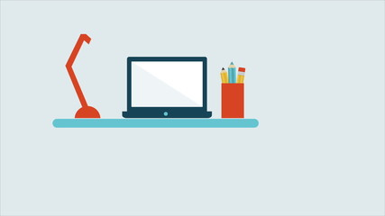 Desk with laptop and lamp, Animation Design, HD 1080