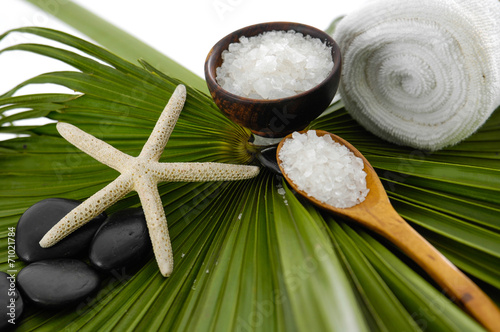 Poster Spa Salt in bowl with spoon ,starfish and roller white towel