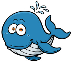 Vector illustration of Whale cartoon