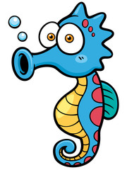 Vector illustration of seahorse cartoon