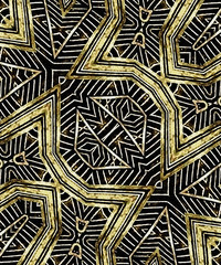 Geometric Tribal Golden Pattern Print