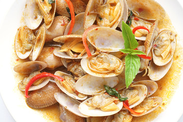 top view of stir  fried surf clams with roasted chili paste