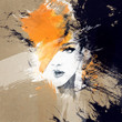 Leinwanddruck Bild - woman portrait  .abstract  watercolor .fashion background