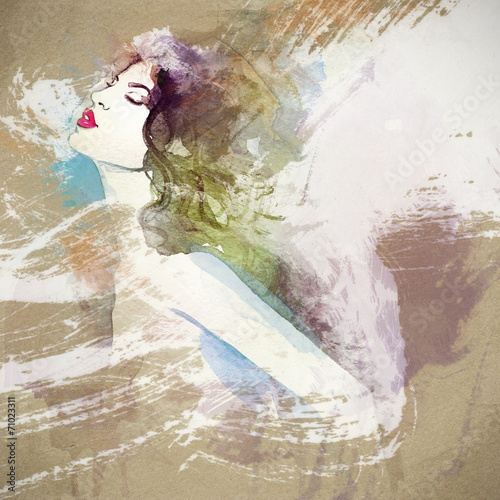 woman portrait  .abstract  watercolor .fashion background - 71023311