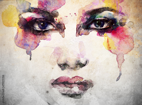 woman portrait  .abstract  watercolor .fashion background - 71023316