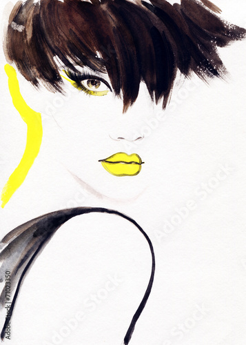 woman portrait  .abstract  watercolor .fashion background - 71023350
