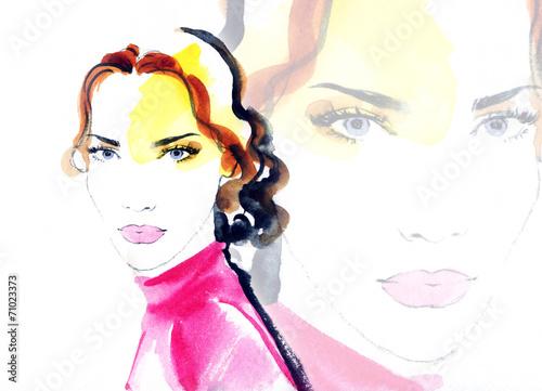 Foto op Plexiglas Aquarel Gezicht woman portrait .abstract watercolor .fashion background