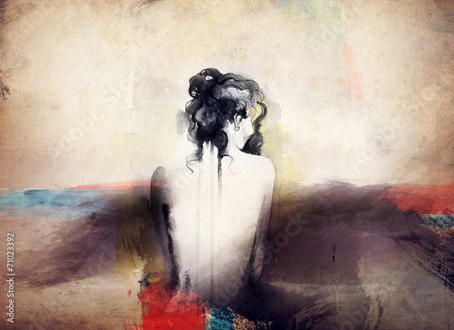 woman portrait  .abstract  watercolor .fashion background - 71023392
