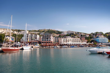 Yachts and boats are moored in marina of Balchik, Bulgaria