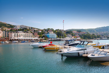 Yachts and pleasure boats are moored in marina of Balchik