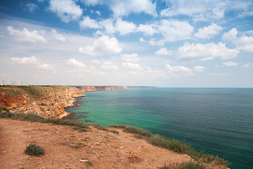 Bulgaria, Black Sea Coast. Coastal landscape of Kaliakra headlan
