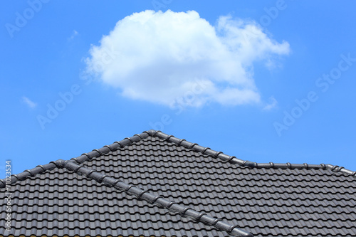 tile roof on a new house with blue sky - 71023534