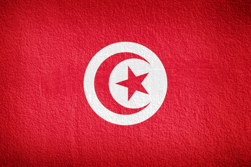Tunisia flag and red wall background