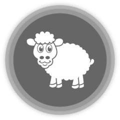 a sheep in a grey Panel