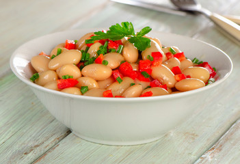 Salad with white beans and fresh herbs