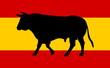 a spanish flag with bull