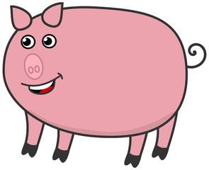 a fat pig, smiling