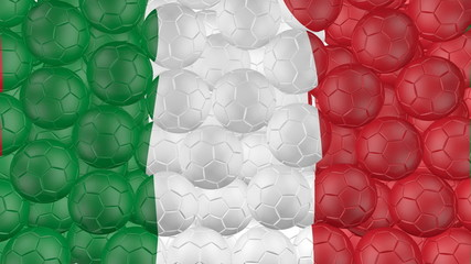 Soccer balls is falling down and forming a italy flag