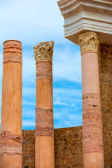 Columns in Cartagena Roman Amphitheater Spain