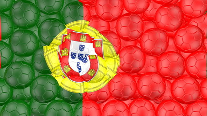 Soccer balls is falling down and forming a portugal flag