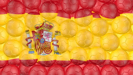 Soccer balls is falling down and forming a spain flag